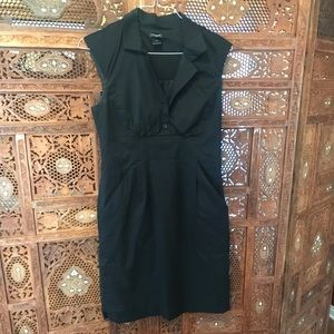 Fitted Black Button Top Dress with pockets